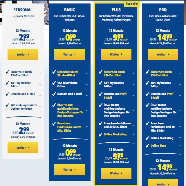 1und1 MyWebsite Kosten und Preise