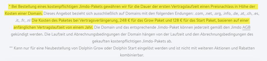 Jimdo Dolphin Preise Kleingedrucktes