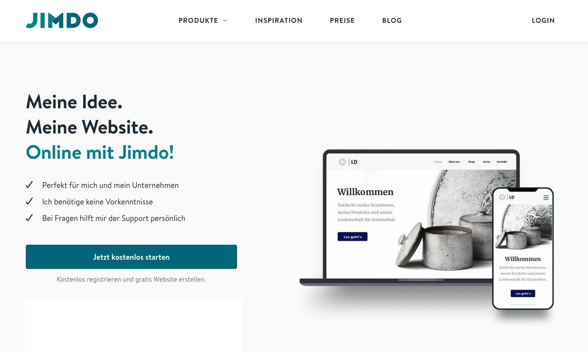 Jimdo Startseite