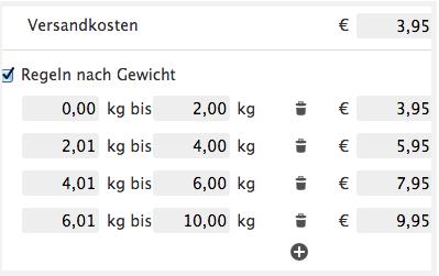 Jimdo Versandkosten Gewicht
