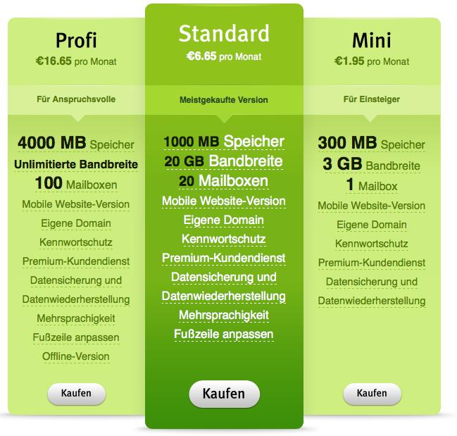 Webnode Preise1 Preisübersicht: Homepage Kosten