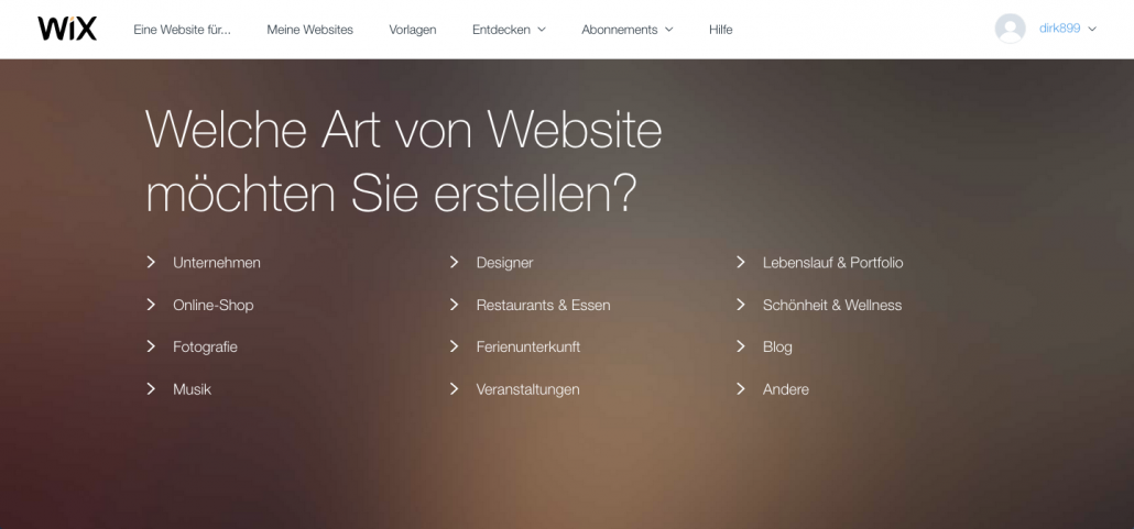wix art der website waehlen