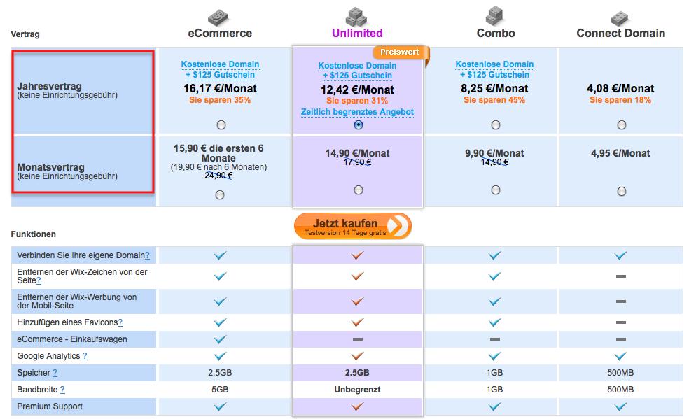 Wix Preise im Vergleich