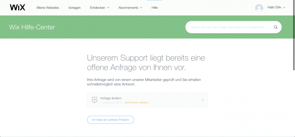 Wix Support Anfrage