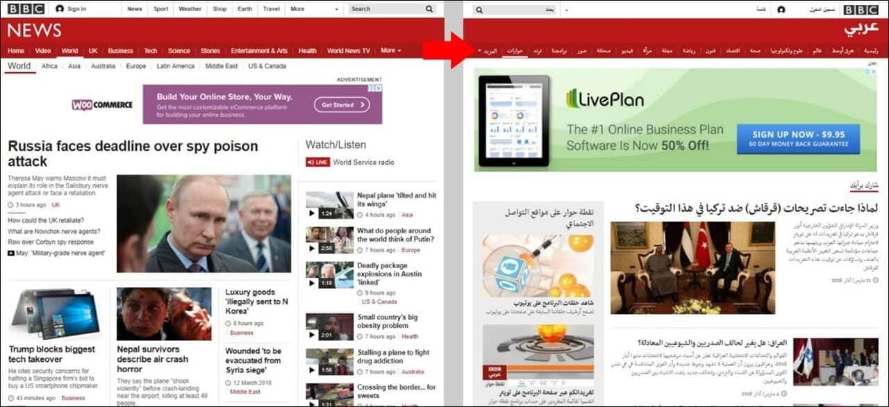 Multilingual website language typography